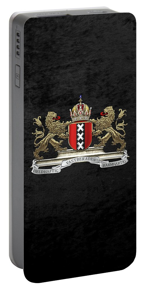 'cities Of The World' Collection By Serge Averbukh Portable Battery Charger featuring the digital art Coat Of Arms Of Amsterdam Over Black Velvet by Serge Averbukh