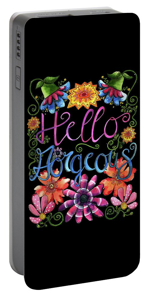 Sunflowers Portable Battery Charger featuring the painting Hello Gorgeous Black by Shelley Wallace Ylst
