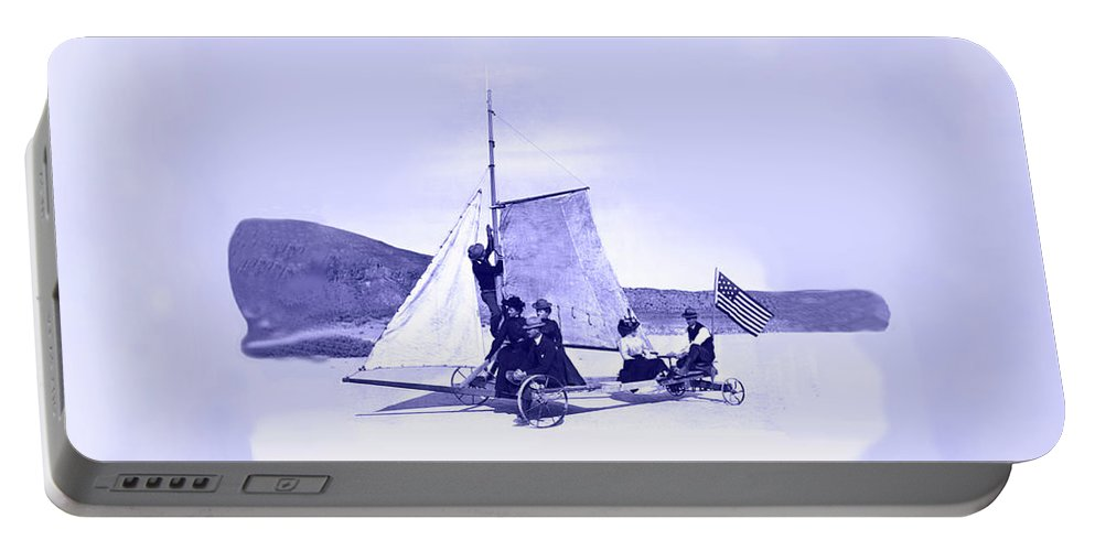 Desert Queen Portable Battery Charger featuring the painting Vintage Ladies And Gentlemen Sail On The Desert Queen by Marian Cates