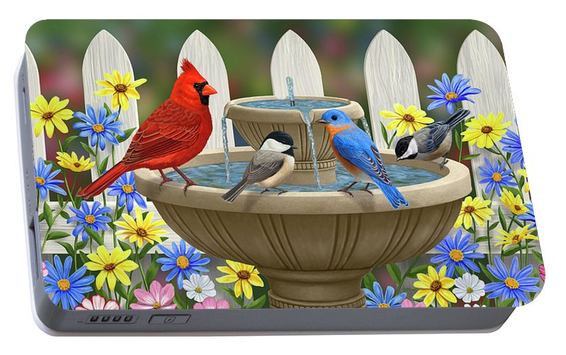 Birds Portable Battery Charger featuring the painting The Colors Of Spring - Bird Fountain In Flower Garden by Crista Forest