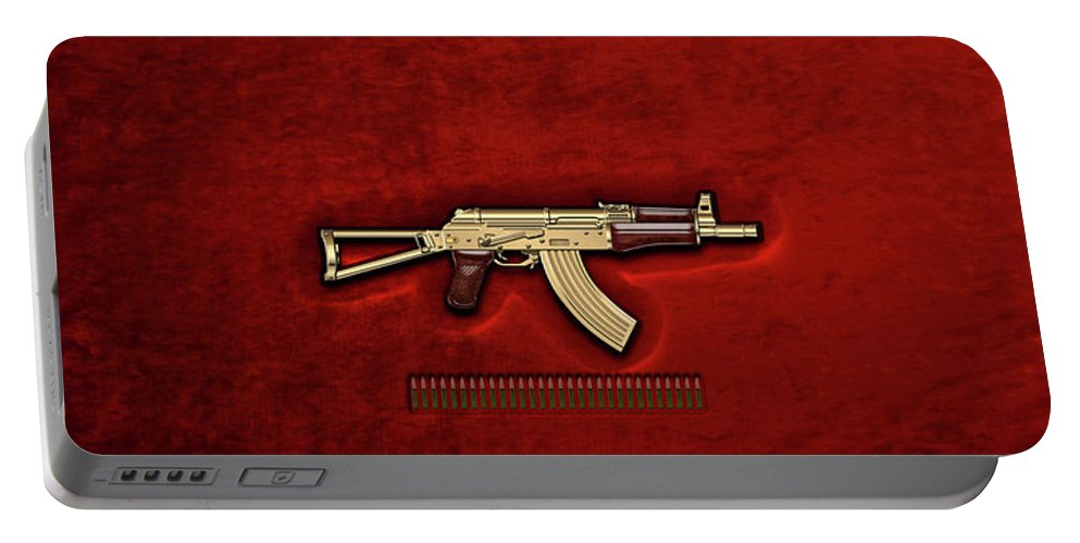 'the Armory' Collection By Serge Averbukh Portable Battery Charger featuring the photograph Gold A K S-74 U Assault Rifle With 5.45x39 Rounds Over Red Velvet  by Serge Averbukh