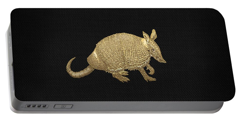 'beasts Creatures And Critters' Collection By Serge Averbukh Portable Battery Charger featuring the photograph Gold Armadillo on Black Canvas by Serge Averbukh