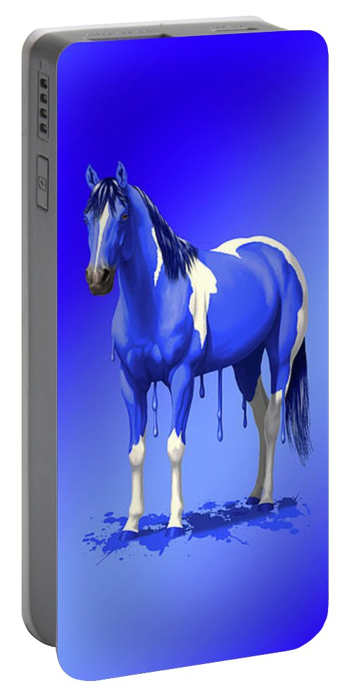 Horses Portable Battery Charger featuring the painting Royal Blue Wet Paint Horse by Crista Forest
