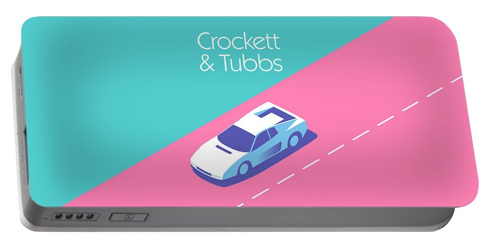 Miami Portable Battery Charger featuring the digital art Crockett And Tubbs Retro 80s by Ivan Krpan