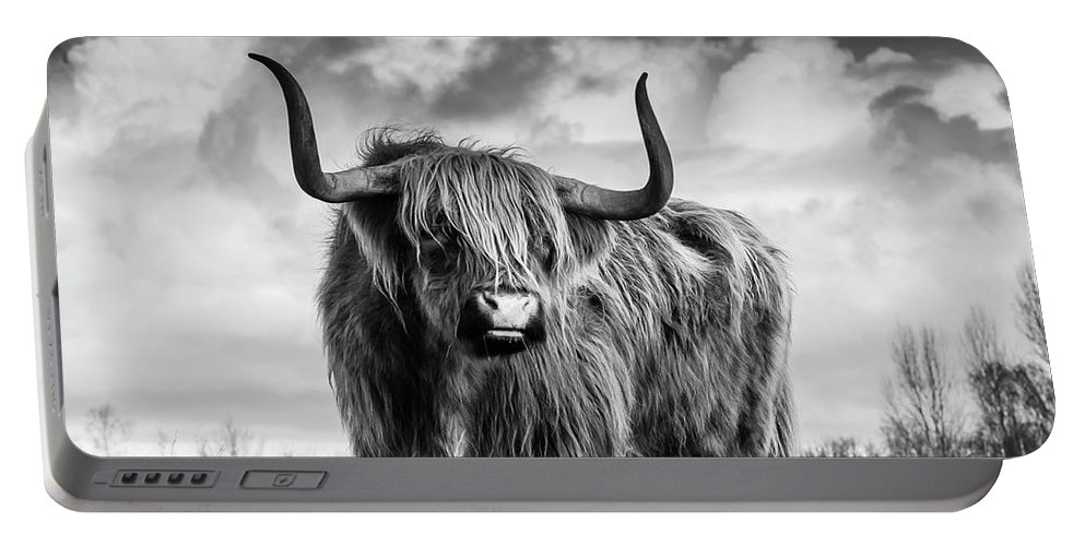 Black And White Portable Battery Charger featuring the photograph Highland Bull by Vasula Tsongas