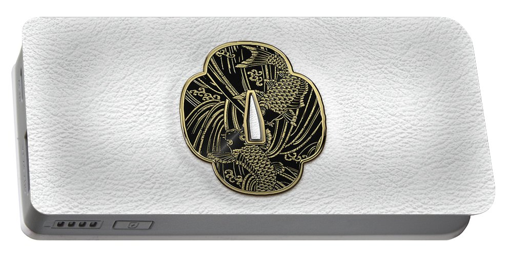 'treasures Of Japan' Collection By Serge Averbukh Portable Battery Charger featuring the digital art Japanese Katana Tsuba - Golden Twin Koi On Black Steel Over White Leather by Serge Averbukh