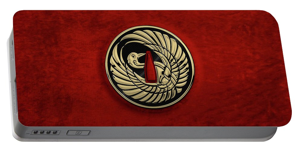 'treasures Of Japan' Collection By Serge Averbukh Portable Battery Charger featuring the digital art Japanese Katana Tsuba - Golden Crane On Black Steel Over Red Velvet by Serge Averbukh