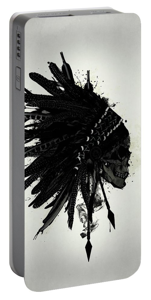Indian Portable Battery Charger featuring the digital art Warbonnet Skull by Nicklas Gustafsson