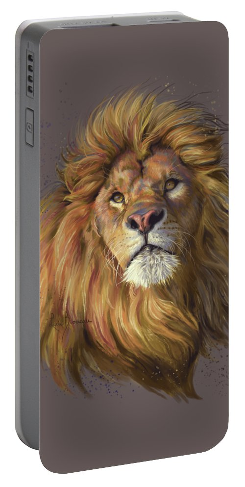 Lion Portable Battery Charger featuring the painting African Lion by Lucie Bilodeau