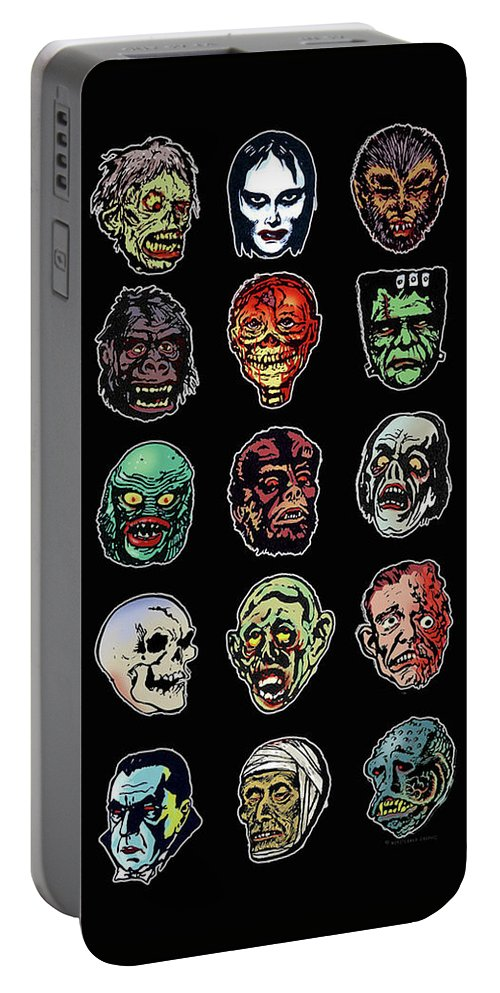 Monster Masks Portable Battery Charger featuring the digital art 16 Horror Movie Monsters Vintage Style Classic Horror Movies by Scott Jackson