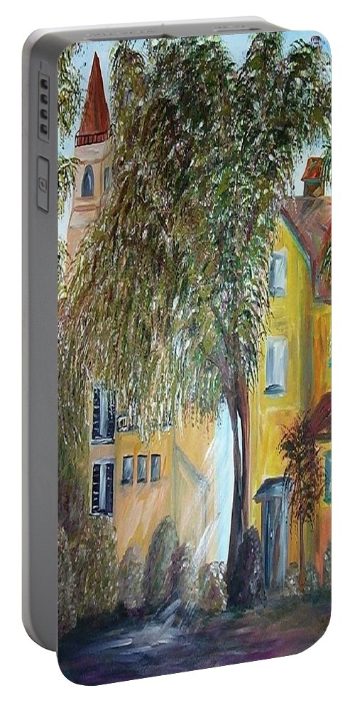 Tuscany Portable Battery Charger featuring the painting Morning In The Old Country by Eloise Schneider Mote