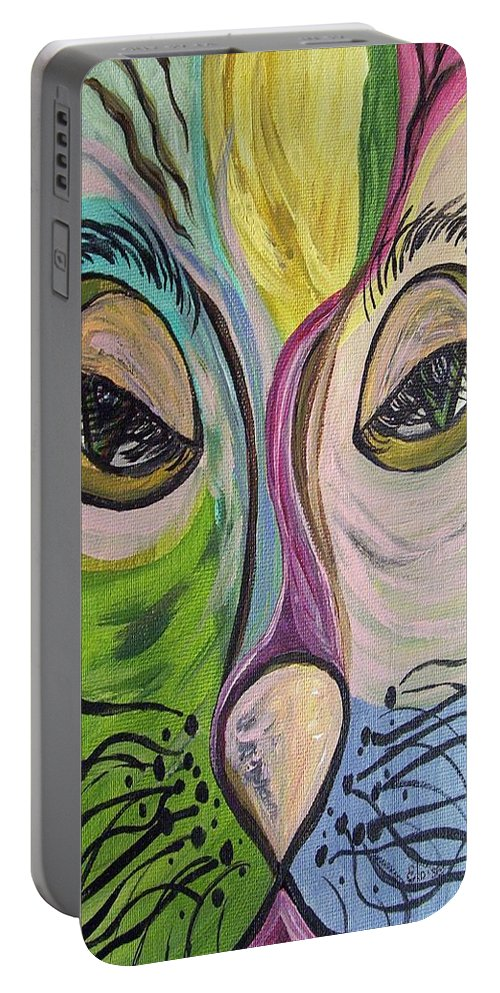 Cute Portable Battery Charger featuring the painting Flirty Feline ... Cat Eyes by Eloise Schneider Mote