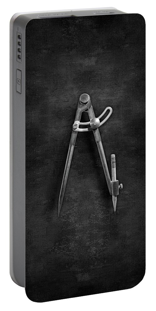 Boys Room Portable Battery Charger featuring the photograph Iron Compass In Bw by YoPedro