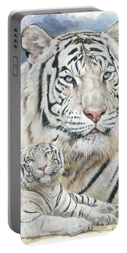 Big Cat Portable Battery Charger featuring the mixed media Dignity by Barbara Keith