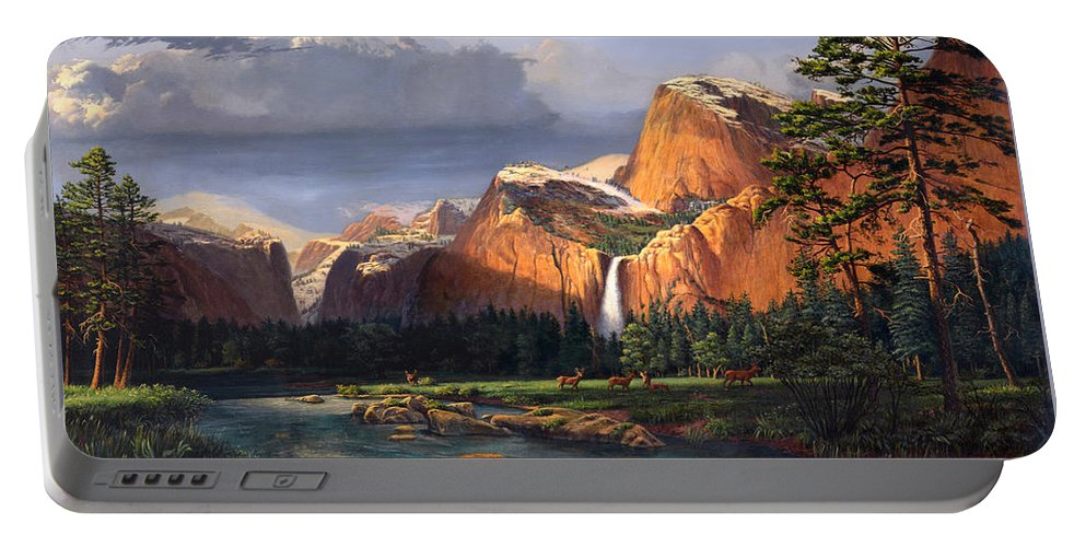 American Portable Battery Charger featuring the painting Deer Meadow Mountains Western Stream Deer Waterfall Landscape Oil Painting Stormy Sky Snow Scene by Walt Curlee