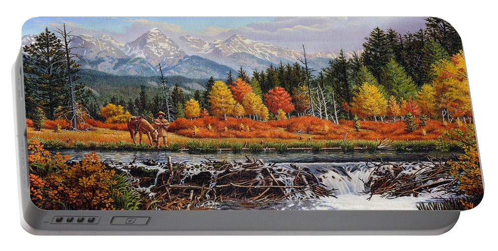 Western Mountain Landscape Portable Battery Charger featuring the painting Western Mountain Landscape Autumn Mountain Man Trapper Beaver Dam Frontier Americana Oil Painting by Walt Curlee