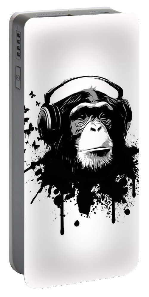 Ape Portable Battery Charger featuring the digital art Monkey Business by Nicklas Gustafsson