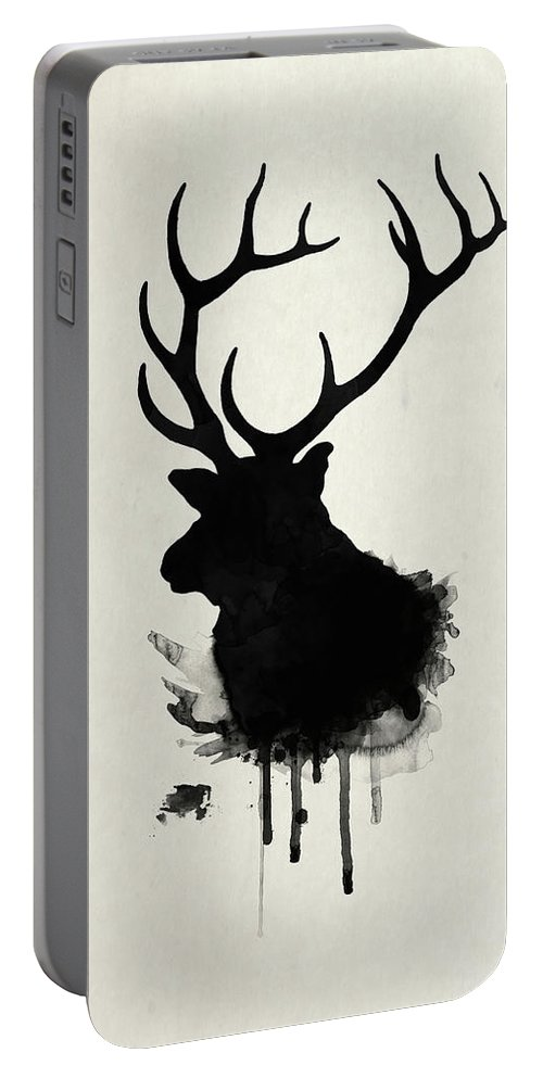 Elk Portable Battery Charger featuring the drawing Elk by Nicklas Gustafsson