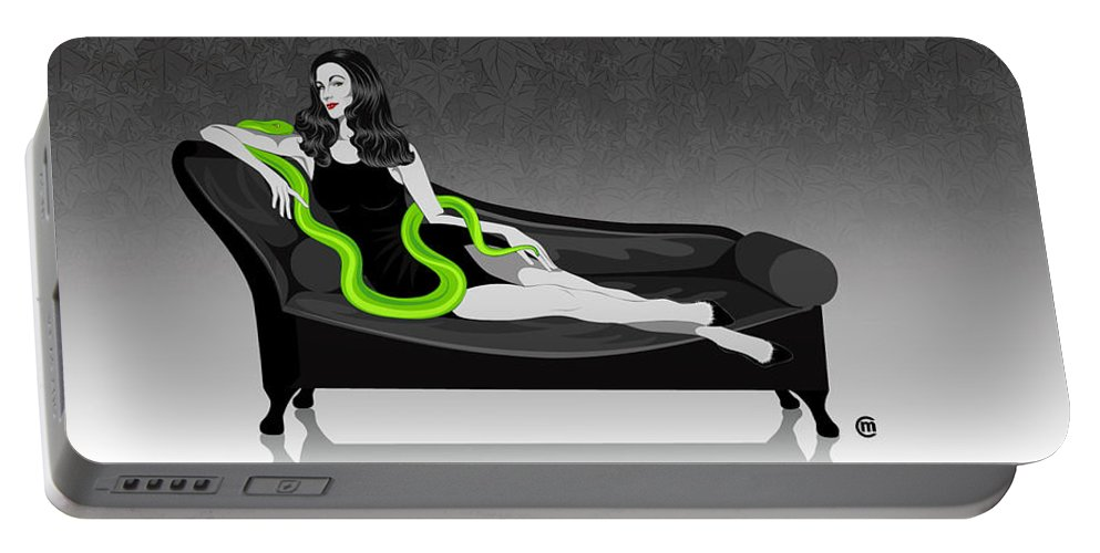Deadly Sins Portable Battery Charger featuring the digital art Envy by Carolina Matthes