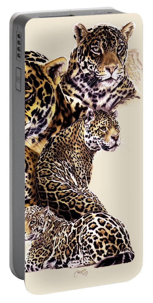 Jaguar Portable Battery Charger featuring the drawing Burn by Barbara Keith