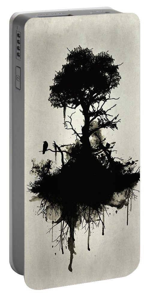 Nature Portable Battery Charger featuring the painting Last Tree Standing by Nicklas Gustafsson