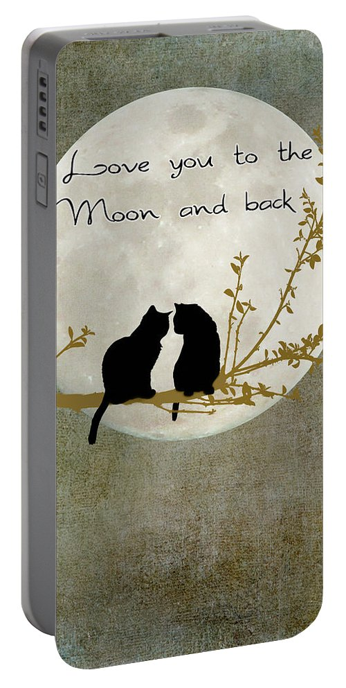 Moon Portable Battery Charger featuring the digital art Love You To The Moon And Back by Linda Lees