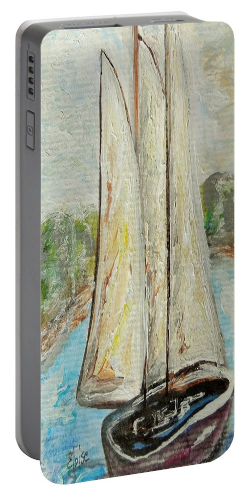 Sail Portable Battery Charger featuring the painting On A Cloudy Day - Impressionist Art by Eloise Schneider Mote