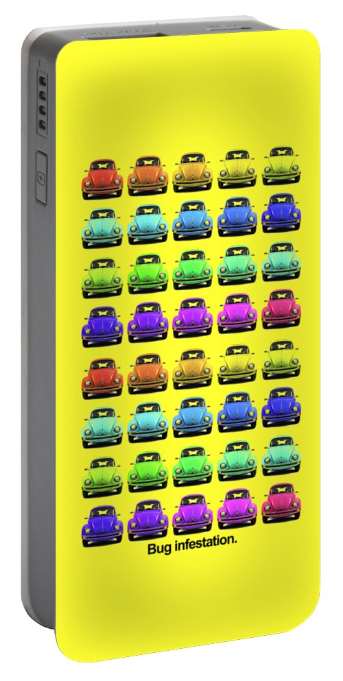 Volkswagen Beetle Portable Battery Charger featuring the photograph Bug Infestation. by Mark Rogan