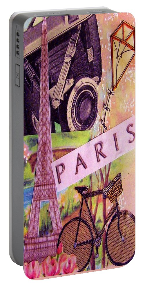 Paris Portable Battery Charger featuring the drawing Paris by Eloise Schneider Mote
