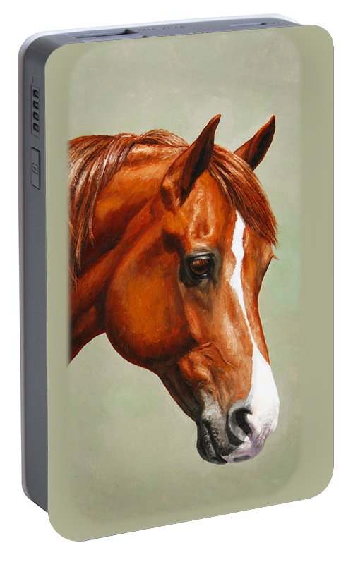 Horse Portable Battery Charger featuring the painting Morgan Horse - Flame by Crista Forest