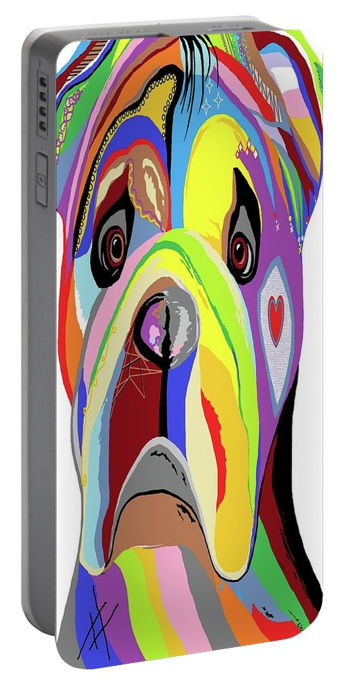 Bulldog Portable Battery Charger featuring the painting Bulldog by Eloise Schneider Mote