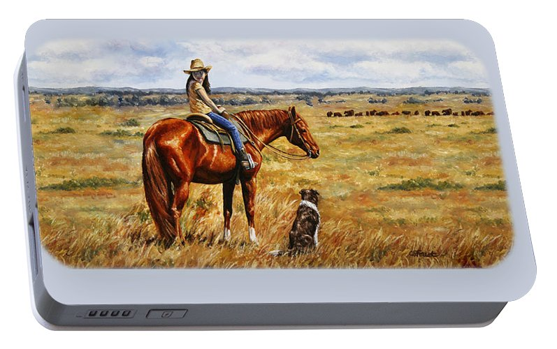 Western Portable Battery Charger featuring the painting Horse Painting - Waiting For Dad by Crista Forest