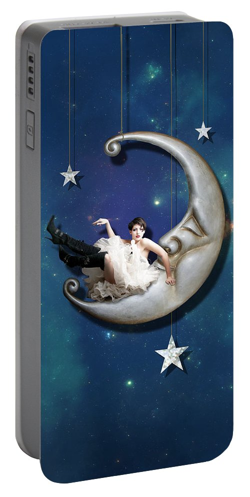 Moon Portable Battery Charger featuring the digital art Paper Moon by Linda Lees