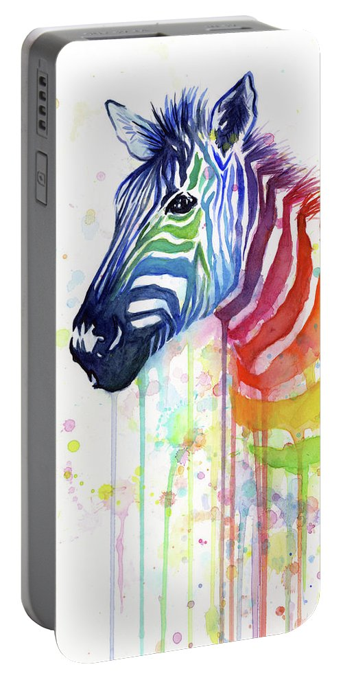 Rainbow Portable Battery Charger featuring the painting Rainbow Zebra - Ode to Fruit Stripes by Olga Shvartsur