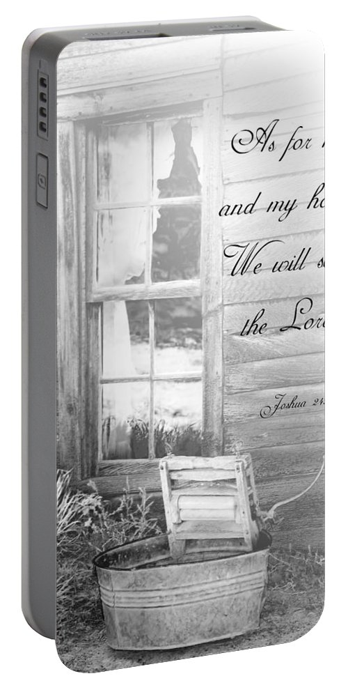 Spiritual Portable Battery Charger featuring the photograph As For Me And My House by Judy Hall-Folde