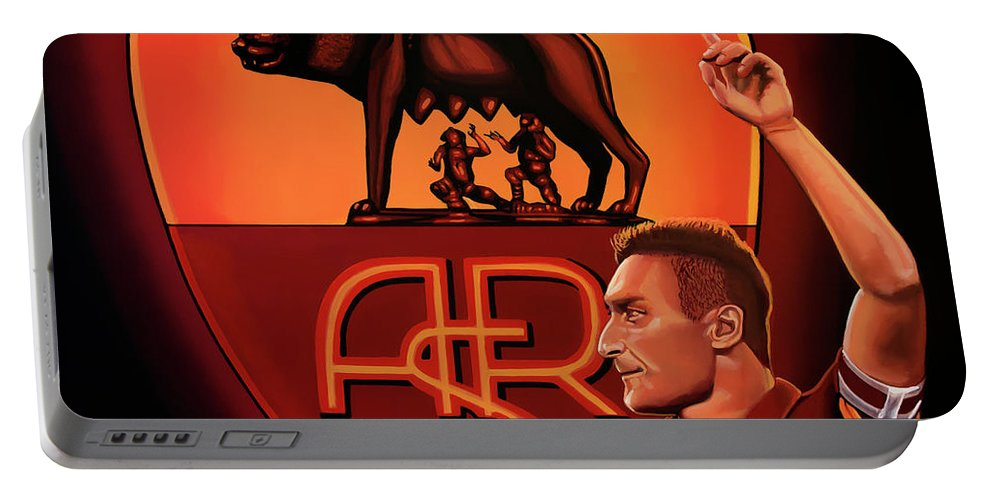Francesco Totti Portable Battery Charger featuring the painting As Roma Painting by Paul Meijering