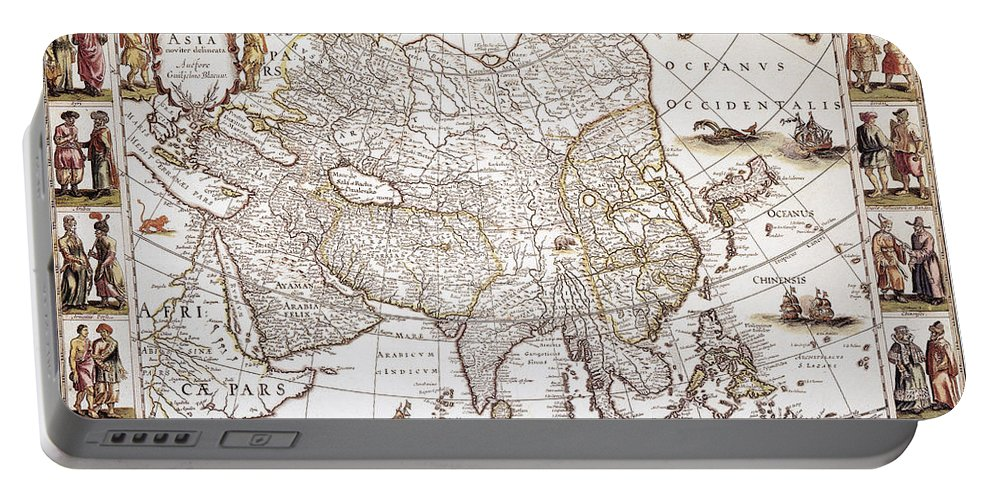 1618 Portable Battery Charger featuring the photograph Asia: Map, C1618 by Granger