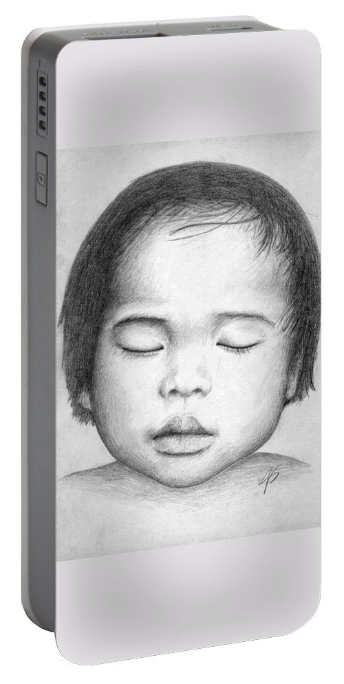 Baby Portable Battery Charger featuring the drawing Asian Baby by Nicole Zeug