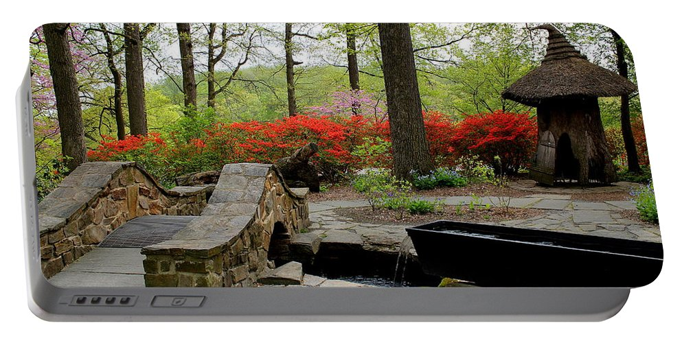 Flowers Portable Battery Charger featuring the photograph Asian Garden by Deborah Crew-Johnson