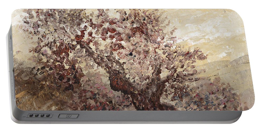 Landscape Portable Battery Charger featuring the painting Asian Mist by Nadine Rippelmeyer