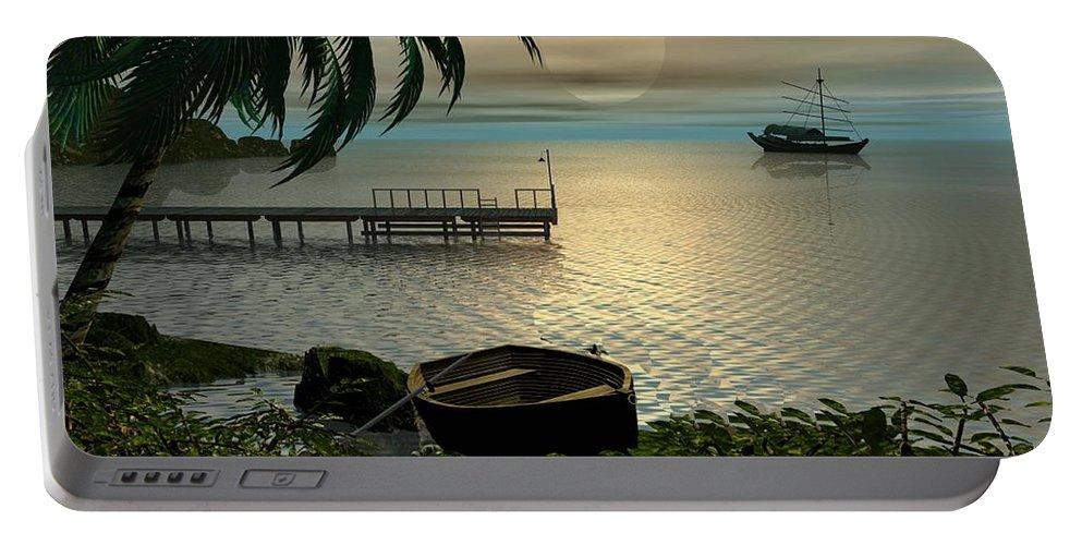 Landscape Portable Battery Charger featuring the digital art Asian Sunset Scene by John Junek