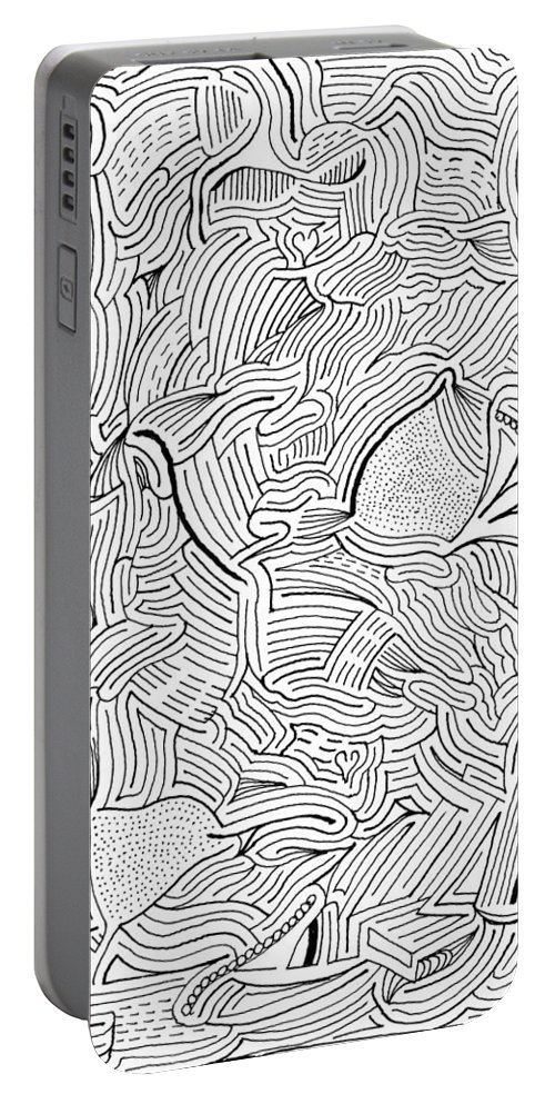 Mazes Portable Battery Charger featuring the drawing Askance by Steven Natanson