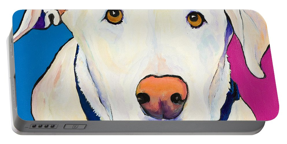White Lab Yellow Lab Animal Paintings Golden Eyes Square Format Dogs Pets Rescued Portable Battery Charger featuring the painting Aslinn by Pat Saunders-White
