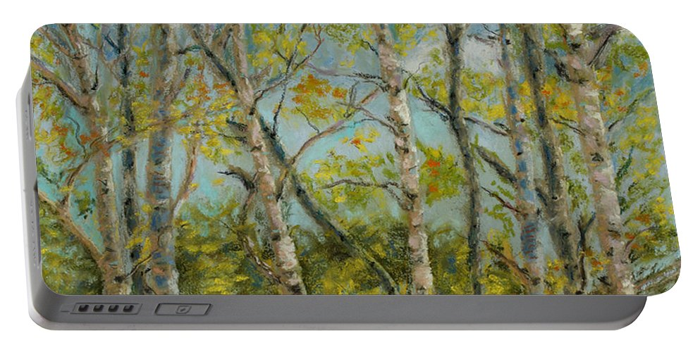 Aspens Portable Battery Charger featuring the pastel Aspen Glow by Mary Benke