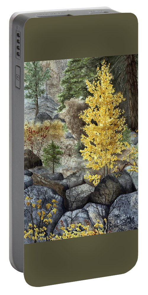 Autumn Portable Battery Charger featuring the painting Aspen Gold by Mary Tuomi