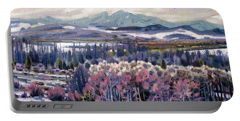 Aspen Portable Battery Charger featuring the painting Aspen In April by Donald Maier