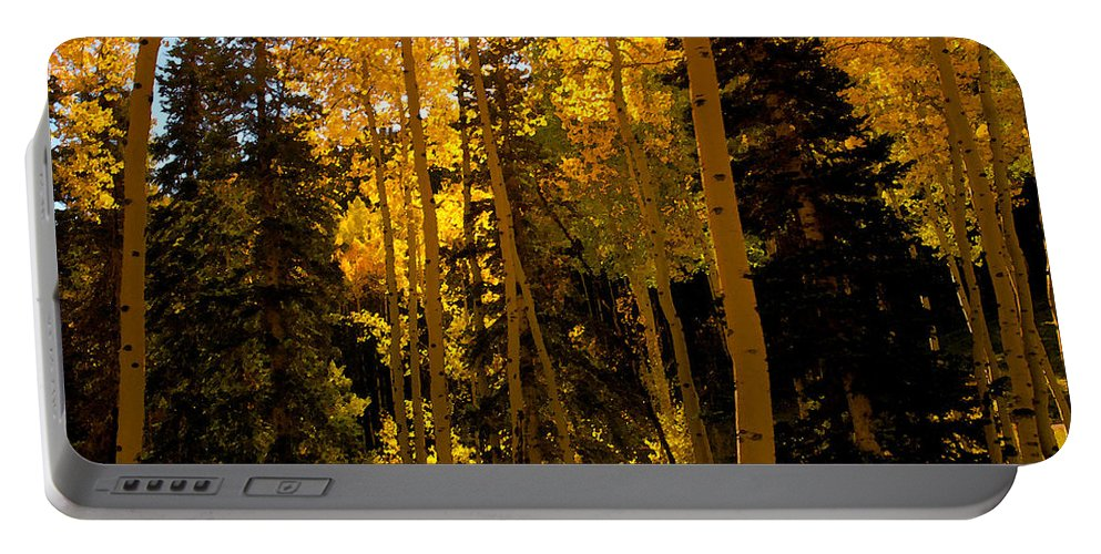 Aspen Trees Portable Battery Charger featuring the painting Aspens In Fall by David Lee Thompson