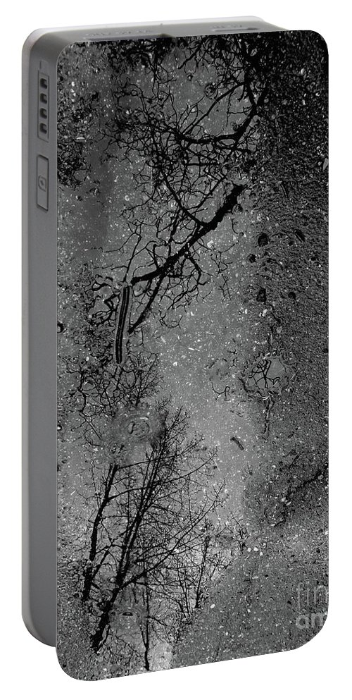Abstract Portable Battery Charger featuring the photograph Asphalt-water-tree Abstract Refection 03 by Jor Cop Images