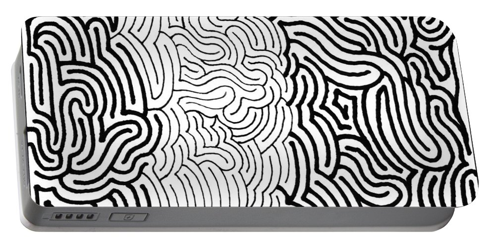 Mazes Portable Battery Charger featuring the drawing Assimilation by Steven Natanson