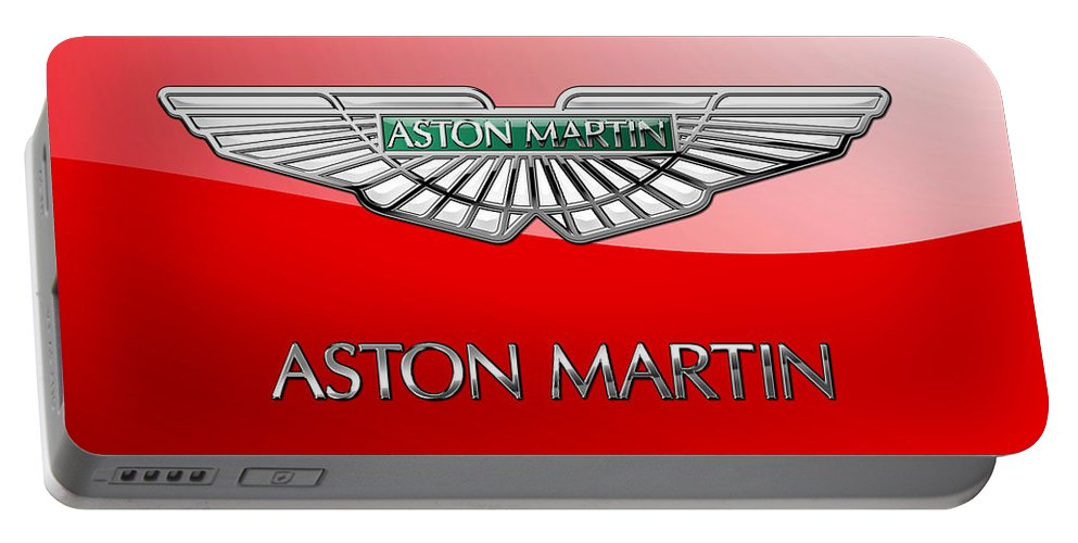 Wheels Of Fortune� Collection By Serge Averbukh Portable Battery Charger featuring the photograph Aston Martin - 3 D Badge On Red by Serge Averbukh